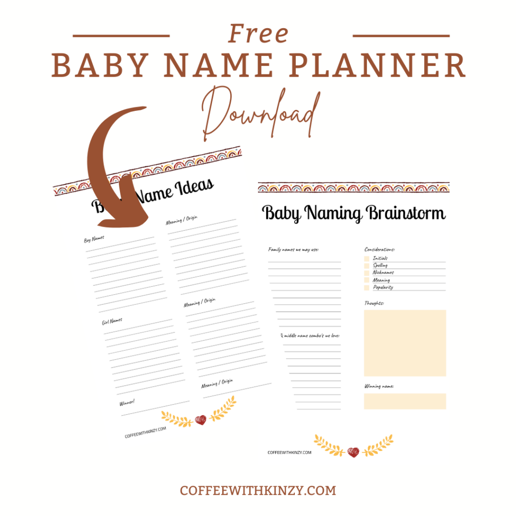 boho rainbow baby name planner and checklist